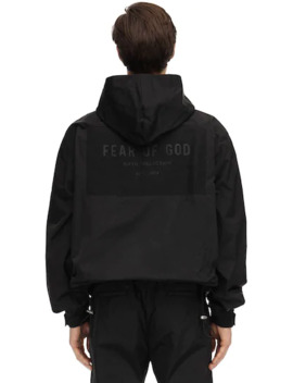 Logo Hooded Nylon Zip Up Jacket by Fear Of God