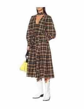 Check Cotton Blend Midi Dress by Ganni