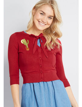 Collectif X Mc Cactus Reaction Cropped Cardigan by Collectif