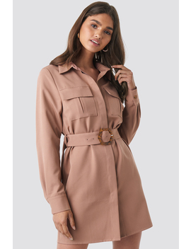 Belted Straight Fit Shirt Dress Rose by Na Kd Trend