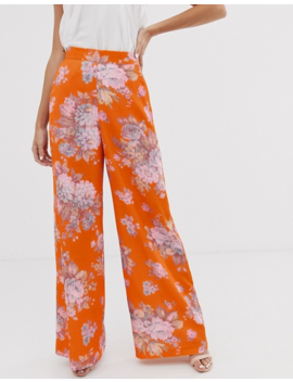 Asos Design Floral Wide Leg Suit Pants by Asos Design