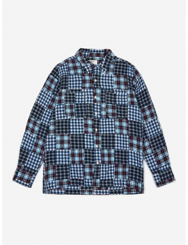 Garage Shirt Ii   Brushed Patchwork Blue by Universal Works