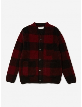 Wool Fleece Cardigan   Red Check by Universal Works