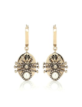 Spider Crystal Embellished Earrings by Alexander Mc Queen