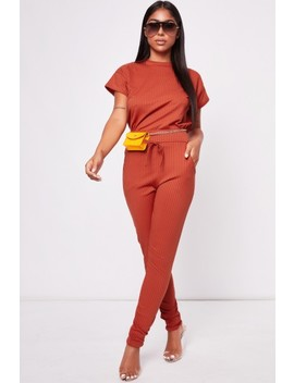 Penelope Rust Ribbed Lounge Set by Misspap