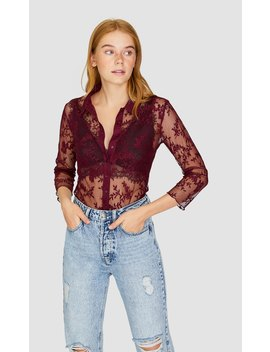Tulle Lace Shirt by Stradivarius