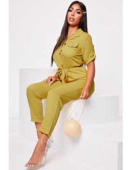 Mariana Yellow Cargo Relaxed Jumpsuit by Misspap