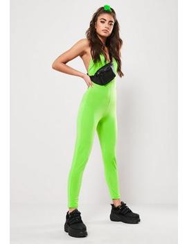 Neon Green Slinky Strappy Back Unitard by Missguided