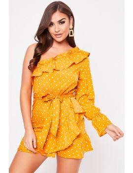 Freya Mustard Polka Dot Frill Detail Dress by Misspap