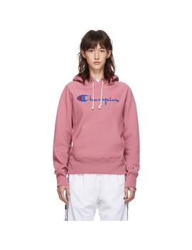 Pink Big Script Logo Hoodie by Champion Reverse Weave