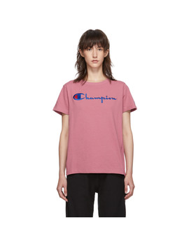 Pink Big Script Logo T Shirt by Champion Reverse Weave