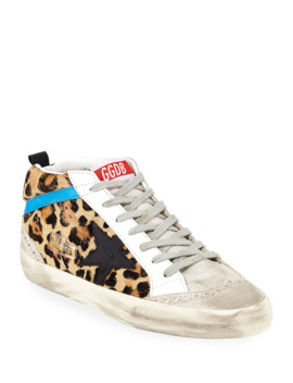 Mid Star Leopard Sneakers by Golden Goose