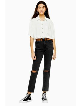 Utility Black Wash Belted Double Knee Rip Jeans by Topshop