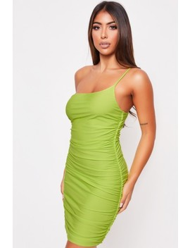 Carrie Lime Ruched One Shoulder Dress by Misspap