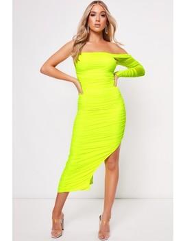 Alana Lime One Shoulder Ruched Dress by Misspap