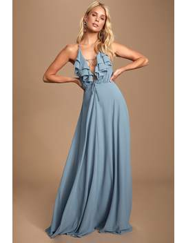 Meridith Slate Blue Ruffled Lace Up Maxi Dress by Lulus
