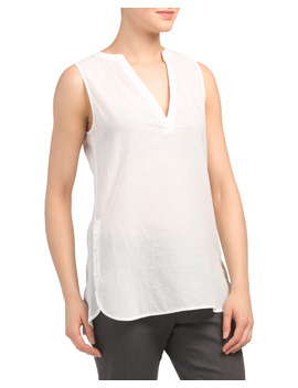 Sleeveless Button Popover Top by Tj Maxx
