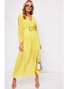 Sienna Yellow Split Front Belted Dress by Misspap