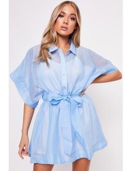 Neave Light Blue Mesh Dress by Misspap