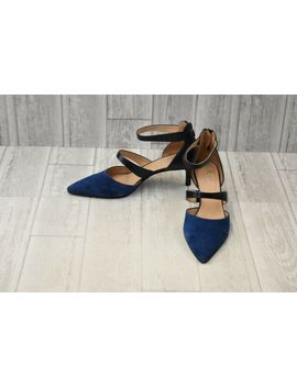 Franco Sarto Davey Suede & Leather Ankle Strap Pumps, Women's Size 9.5 M Navy New by Ebay Seller