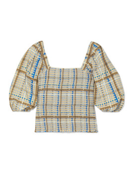 Shirred Checked Cotton Poplin Top by Ganni