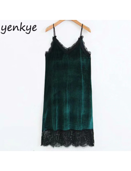 Women Lace Trims Sexy Side Split Vintage Velvet Dress Female V Neck Sleeveless A Line Midi Sling Dress Sdp9062 by Ali Express.Com