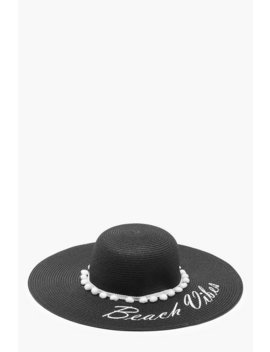 Beach Vibes Slogan Straw Floppy Hat by Boohoo