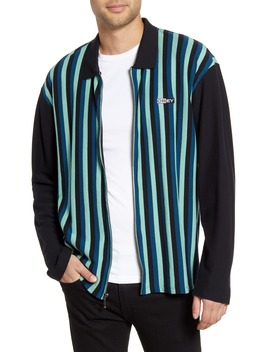 Bold Stripe Piqué Shirt Jacket by Obey