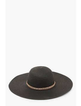Straw Floppy Hat With Multi Trim by Boohoo