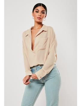 Sand Oversized Plunge Tunic Blouse by Missguided