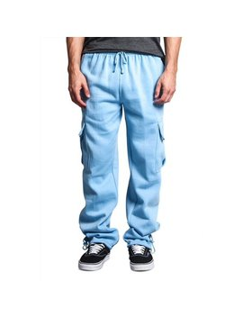 G Style Usa Men's Solid Fleece Cargo Pants Dfp2   Sky Blue   3 X Large by G Style Usa