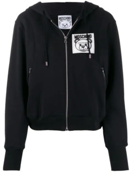Zip Front Logo Patch Hoodie by Moschino