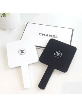 Chanel Cc Logo Vip Gift Black White Matte Handheld Makeup Acrylic Mirror Nib by Cc