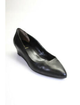 Fendi Womens Slip On Wedge Heel Pointed Toe Pumps Black Leather Size 42 by Fendi