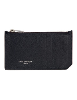 Navy Zipped Fragment Card Holder by Saint Laurent