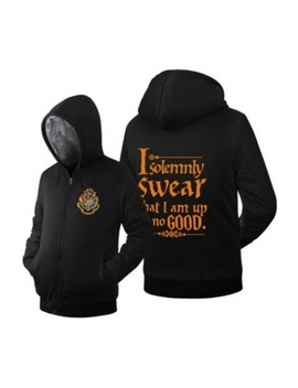Cool Harry University Logo Chest Letter I Solemnly Swear That I Am Up No Good Print Zip Up Fit Hoodie by Beautiful Halo