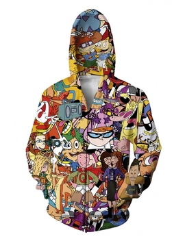 3 D Cartoon Comic Character Printed Long Sleeve Zip Up Yellow Hoodie by Beautiful Halo