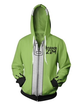New Stylish 3 D Comic Printed Long Sleeve Zip Up Green Hoodie by Beautiful Halo