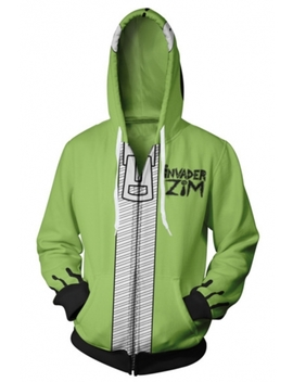 Invader Zim Gir Funny 3 D Letter Printed Long Sleeve Zip Front Green Drawstring Hoodie by Beautiful Halo