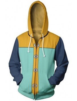 Seven Deadly Sins 3 D Comic Cosplay Costume Fashion Colorblocked Long Sleeve Full Zip Hoodie by Beautiful Halo