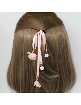 2017 Korean Elegant Long Ribbon Belt Flowers Rubber Bands With Imitation Pearl Girls Elastic Hair Bands Women Hair Rings Q11 by Ali Express