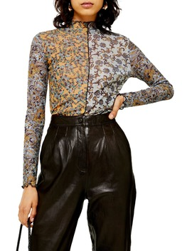 Paisley Spliced Mesh Top by Topshop