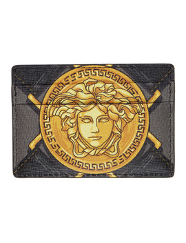 Black & Grey Bondage Card Holder by Versace