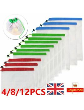 8/12 Pcs Reusable Mesh Produce Bags Grocery Fruit Vegetable Storage Shopping Eco by Ebay Seller