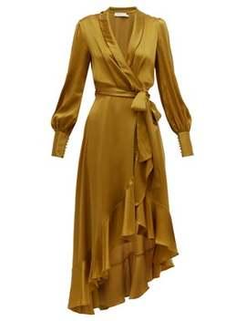 Espionage Wrap Silk Midi Dress by Zimmermann