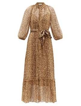 Espionage Leopard Print Silk Midi Dress by Zimmermann