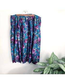 Vintage Plus Size Floral Elastic Waist Flowy Skirt by Vintage