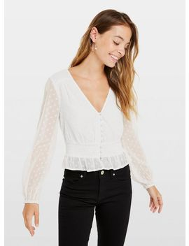 Petite Ivory Dobby Blouse by Miss Selfridge