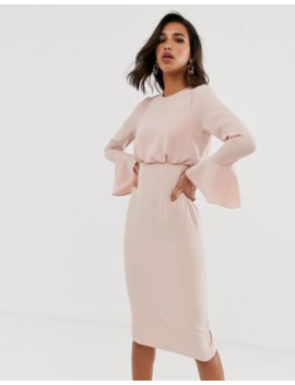 Asos Design Fluted Sleeve Midi Pencil Dress by Asos Design