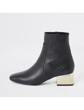 Black Gold Tone Block Heel Wide Fit Boots by River Island